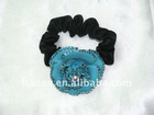 Teal Clover Crystals Beautiful Ponytail Hair Tie Band(HA-0035)