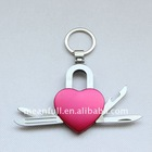 heart shape promotional multi mini pocket gift knife/ key ring key chain