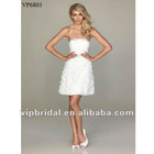 Sexy short white satin band and beaded with 3-D flower party dress