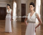 white Organza sleeveless Deep V-neckline diamante beaded mother of bride dress OLM119