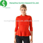 ladies' newest fashion round collar long sleeve with various pattern knitting