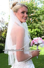 stunning hand-sewn crystals and bugle beads 2-layer thin pencil edging wedding veil