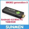 HDMI Mini PC Mk802 II Android 4.0 A10 Cortex A8 1GB RAM 4G ROM