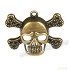 Cheap Antique Bronze Skull Charms Wholesale 142342