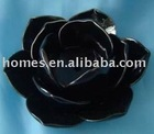 Ceramic black glazed flower candle holder
