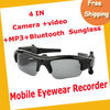 Free Shipping 4GB Camera video MP3 Bluetooth Sunglass 1.3mage Recording Speed 30fps Black MOQ=1