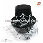 New Design black top hat with spider web and black lace for masquerade
