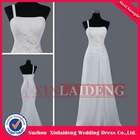 BDM206 simple white chiffon a line one hand maid of honor wedding bridesmaid dresses