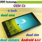 6 inch MTK6577 Android phone C3 Note 2 OS 4.0 dual core 1.2GHz Bluetooth GPS 3G Smart Phone
