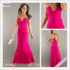 2149-1hs Beautiful Halter Beading Sheath hot pink Taffeta Ruching cheap Floor Length prom dresses