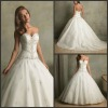W72 Fashion Beading Ruffle Strapless Satin Bubble Wedding Dress