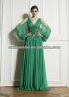V neck long sleeve green evening dresses 2013 WG1746