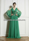 V neck long sleeve green evening dresses 2013 WG1746