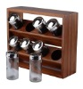 2 tier wooden spice rack with 8 bottles