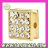 Fashion Gold Plated Square Crystal Alloy Beads For Bracelet Wholesale