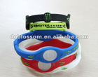 Customized power silicon wristband embossed logo with hologram