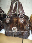 New Style Rabbit FOX and PU Fur bags black shoulder bag hand bag