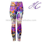 On classic girls rock individuation letters purple flower print leggings