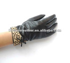 ladies short fashion wearing leather gloves with Leopard