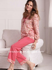 long sleeves 100% cotton ladies'nightwear suits