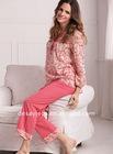 long sleeves 100% cotton ladies'nightwear suits