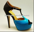 Pretty Steps 2012 Guangzhou wholesale cheap fashion 10cm PU red bottom ladies shoes 2012