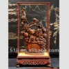 Chinese Art Work Rosewood Carved Sculpture Fruit Basket Statue TY