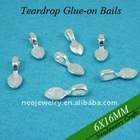 Sterling Silver Plated Teardrop Glue on Bails for Scrabble Tile Pendants and Glass Tile Pendants