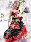 2013 A Line Spaghetti Strap Floor Length Satin Red Girls Pageant Dress