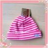cheap windproof polar fleece child striped beanie hat factory