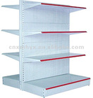Supermarket display shelf with double and single side