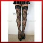 Floral Fishnet Stocking with Lace Top