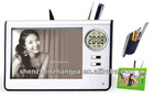 plastic photo frame with pen holder & digital alarm clock