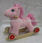 baby plush rocking horse with 4 wheels