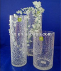 Set of 3 crakle glass vase diamension