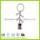 Enamel Keychain with enamel pink ribbon charm