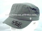 Enzyme washed army cap with customized logo