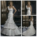 Hot Sale In Stock Strapless Sexy Backless Handmade Beading Tiered Royal Ball Gowns 2012