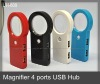 Pocket Magifier glass with Purple light for checking money, 4 ports USB Hub, OEM/ODM factory, best for promotion