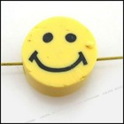 cute smiling flat polymer clay beads 110565