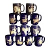Cobalt Blue Ceramic Mug with Zodiac Decal for Promotion