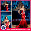 PMD222 modern sexy red stain mermaid crystal beaded night prom dress