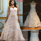 Pink A-line Sweetheart Layer Skirt Organza Fat Size Wedding Dress