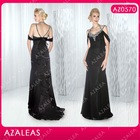 AZ0570 Rhinestones V-Neck Floor-length Black Organza off the shoulder mother of the bride dresses