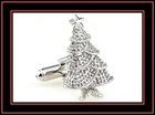Novelty metal Christmas tree cufflink