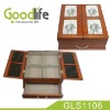 Wooden drawer organizer box with photo frame