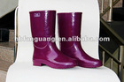 Purple Women Colorful Rubber Rain Boots for Lady (half)