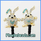 Wholesale 3.5mm Headphone Jack Plug Mobile Phone Earphone Dustproof Ear Cap Cute Bunny Rabbit Design Pave Crystal For Iphone MDP