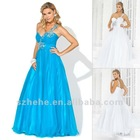 Drop shipping elegant wholesale price shinning appliqued and beaded blue one shoulder prom dress