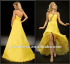 Strapless P-ED-342 Chiffon Beaded Front Short Long Back Prom Evening Dress